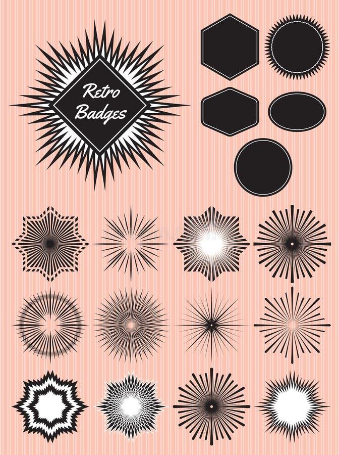 Sistema de rayos el sol para la producción de insignias, emblemas ilustración del vector