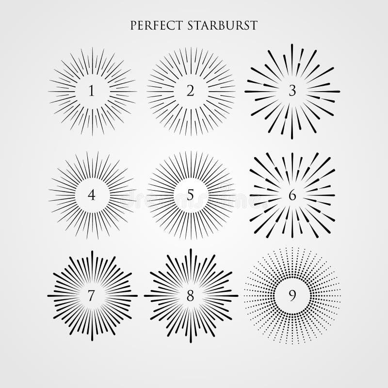 Sistema de rayos ligeros, de resplandor solar y de rayos del sol Estilo del inconformista del vintage Resplandor solar de los ray libre illustration