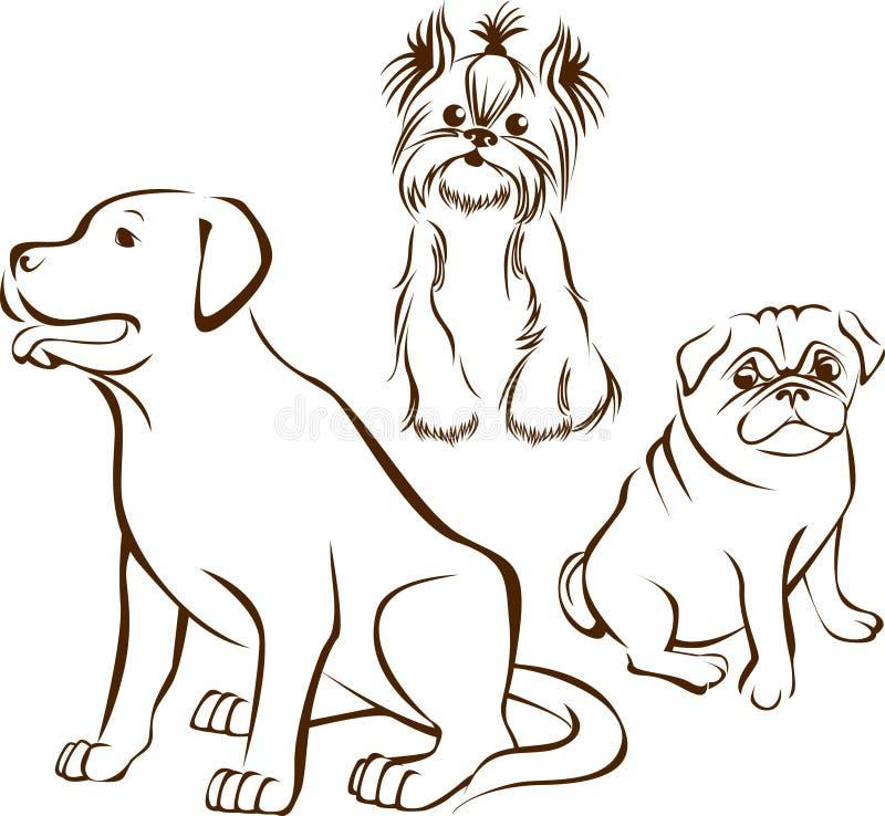 Sistema de razas de los perros stock de ilustración