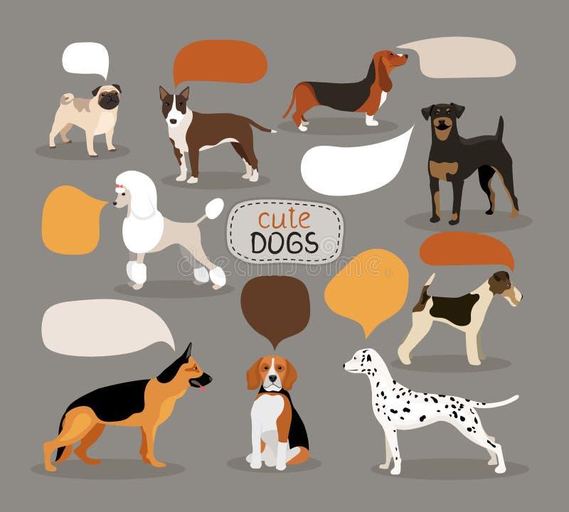 Sistema de razas del perro con las burbujas del discurso stock de ilustración