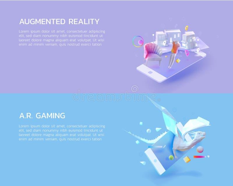 Sistema de realidad aumentada, juego de AR fotografía de archivo
