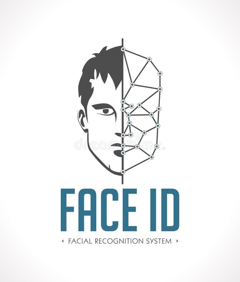 Sistema de reconhecimento facial - cara como a identificação - logotipo biométrico ilustração stock