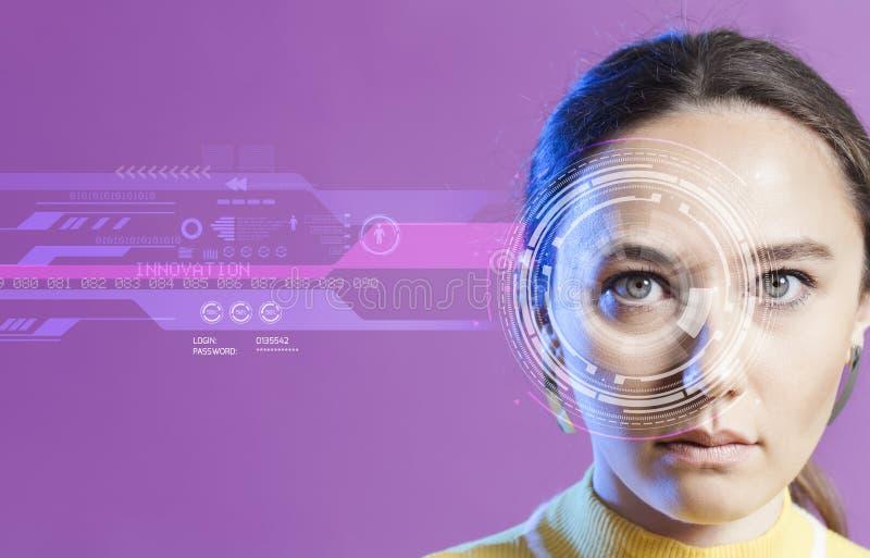 Sistema de reconocimiento facial Reconocimiento del iris fotografía de archivo libre de regalías