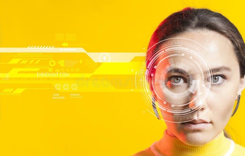 Sistema de reconocimiento facial Reconocimiento del iris foto de archivo