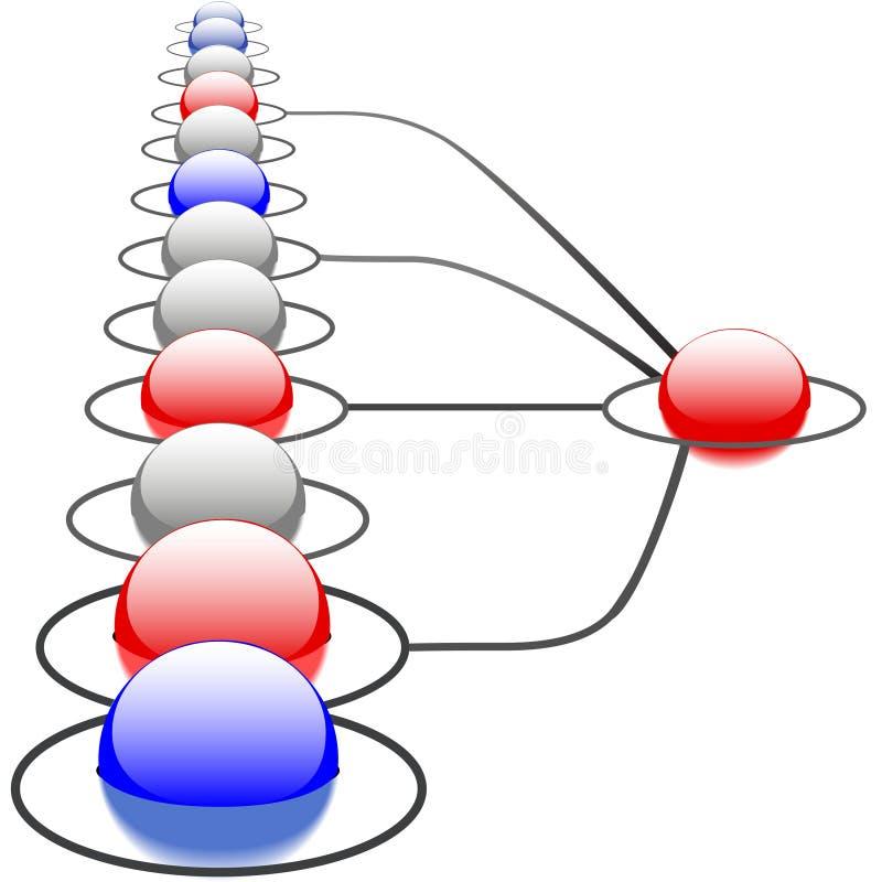 Sistema de red abstracto de las conexiones de la tecnología stock de ilustración