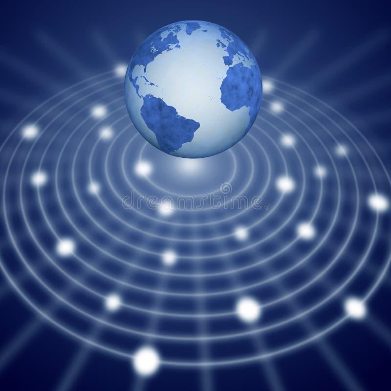 Sistema de rede de comunicação azul da terra ilustração do vetor