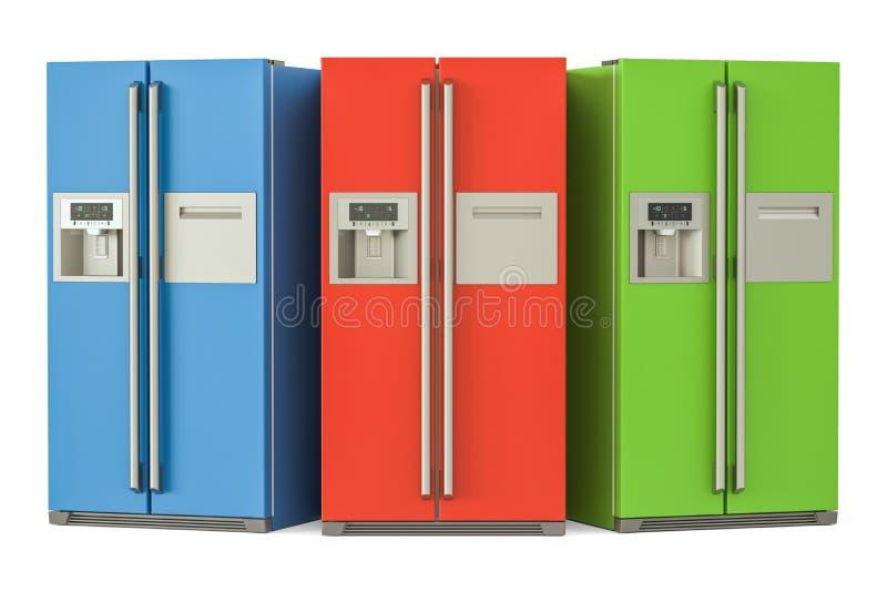 Sistema de refrigeradores coloreados con de lado a lado el sistema de la puerta, 3D r libre illustration