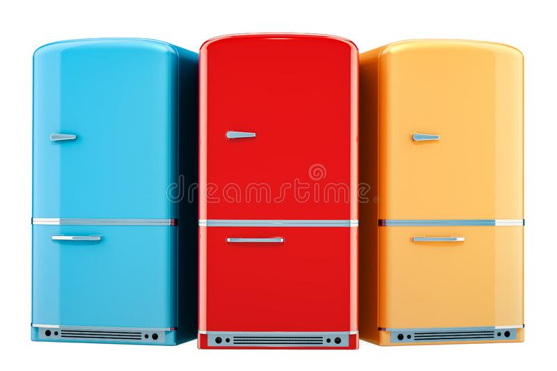 Sistema de refrigeradores coloreados, diseño retro representación 3d stock de ilustración
