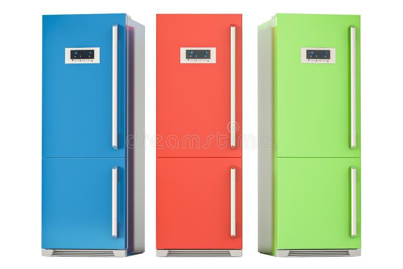 Sistema de refrigeradores coloreados, representación 3D stock de ilustración