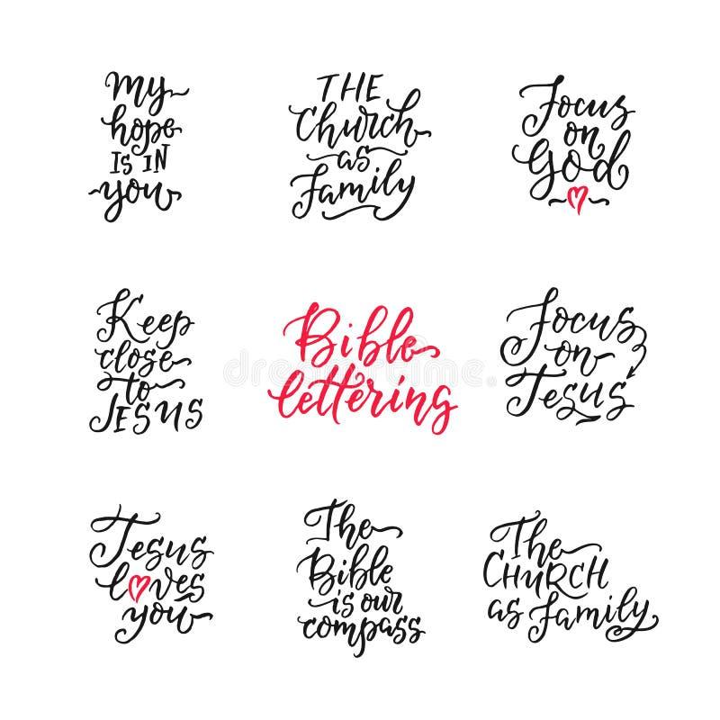 Sistema de religiones exhaustas de la mano que ponen letras a vector libre illustration