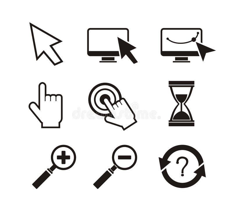 Sistema de reloj de arena del cursor de la mano de los cursores del ratón stock de ilustración