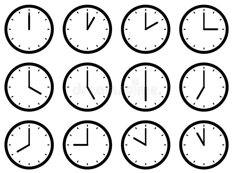 Sistema de relojes, con los tiempos fijados en cada hora Ilustración del vector ilustración del vector
