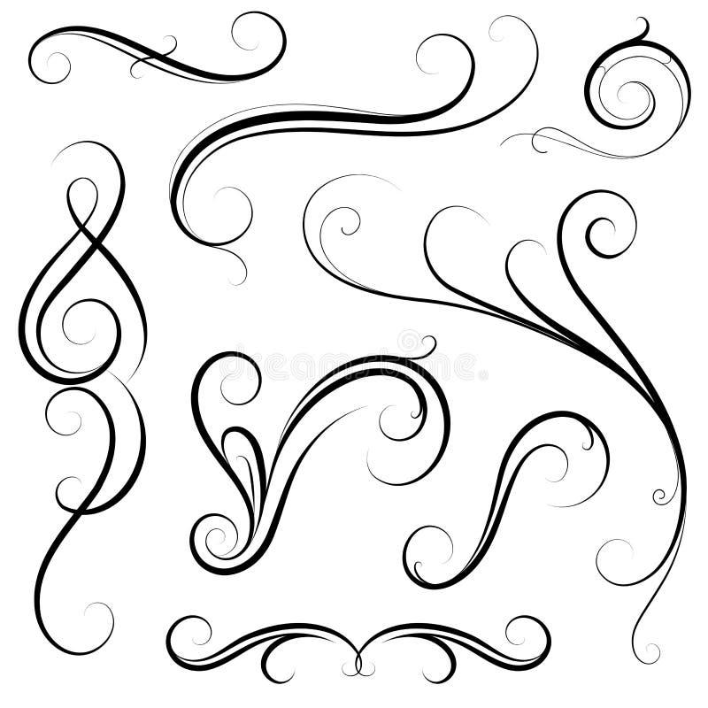 Sistema de remolinos caligráficos ilustración del vector