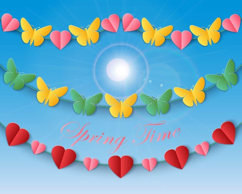 Sistema de repetir las guirnaldas con las mariposas y los corazones contra un fondo del cielo azul ilustración del vector