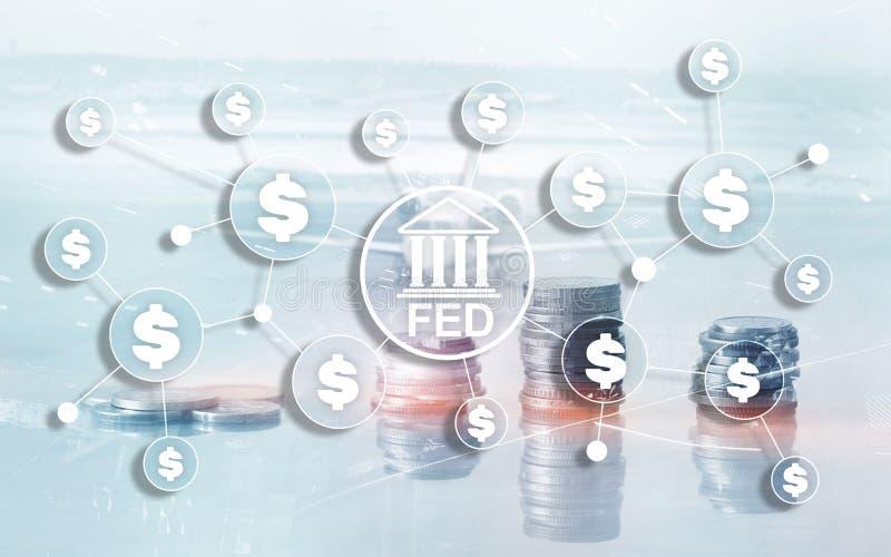 Sistema de reserva federal ALIMENTADO EUA que deposita o conceito financeiro do neg?cio do sistema imagem de stock
