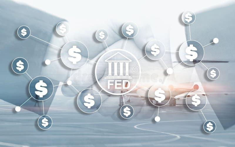 Sistema de reserva federal ALIMENTADO EUA que deposita o conceito financeiro do neg?cio do sistema ilustração do vetor