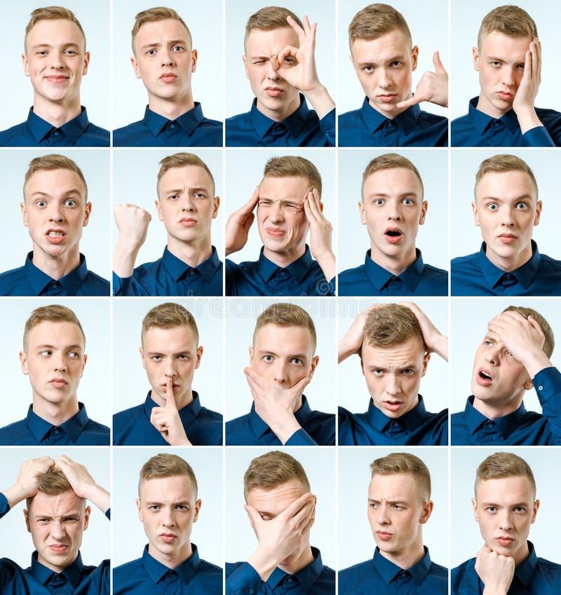 Sistema de retratos del ` s del hombre joven con diversos emociones y gesto imágenes de archivo libres de regalías