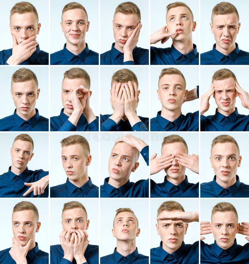 Sistema de retratos del ` s del hombre joven con diversos emociones y gesto imagen de archivo