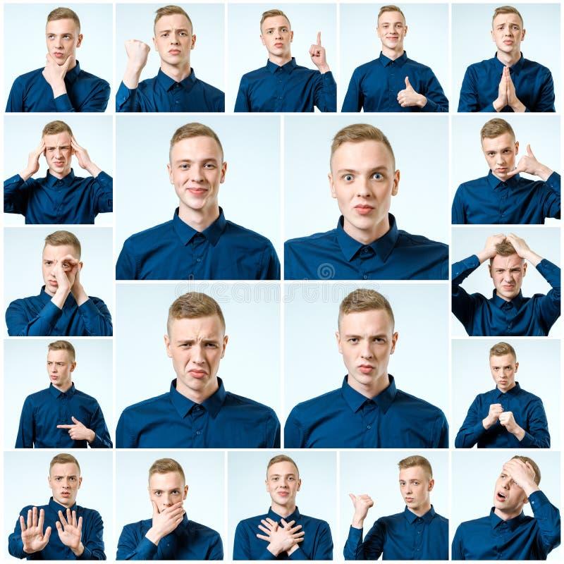 Sistema de retratos del ` s del hombre joven con diversas emociones fotografía de archivo libre de regalías