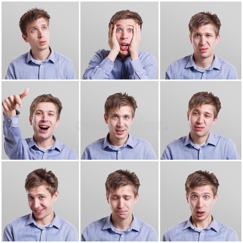 Sistema de retratos del ` s del hombre joven con diversas emociones foto de archivo libre de regalías