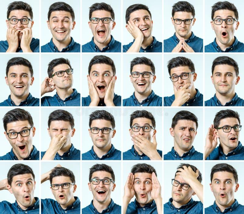 Sistema de retratos del ` s del hombre joven con diversas emociones imagen de archivo libre de regalías