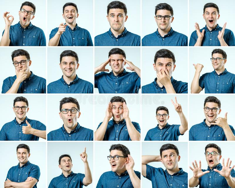 Sistema de retratos del ` s del hombre joven con diversos emociones y gesto imagen de archivo libre de regalías