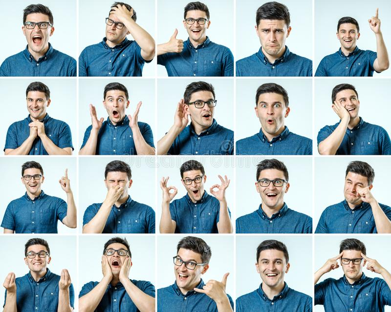 Sistema de retratos del ` s del hombre joven con diversos emociones y gesto imagenes de archivo