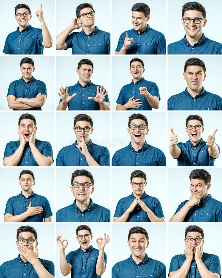 Sistema de retratos del ` s del hombre joven con diversos emociones y gesto foto de archivo libre de regalías