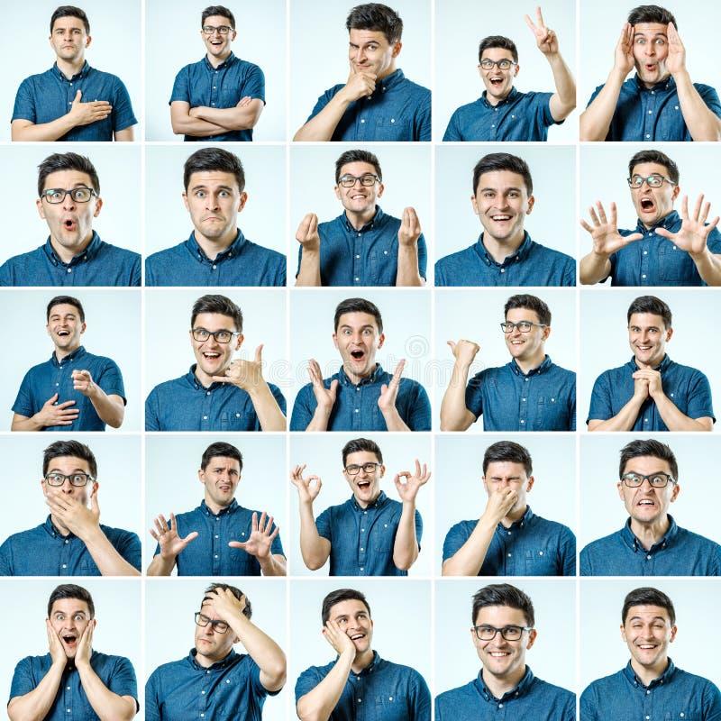 Sistema de retratos del ` s del hombre joven con diversos emociones y gesto fotografía de archivo