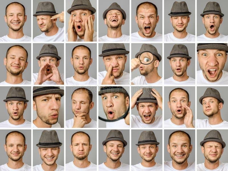Sistema de retratos del ` s del hombre joven con diversos emociones y gestos imagenes de archivo