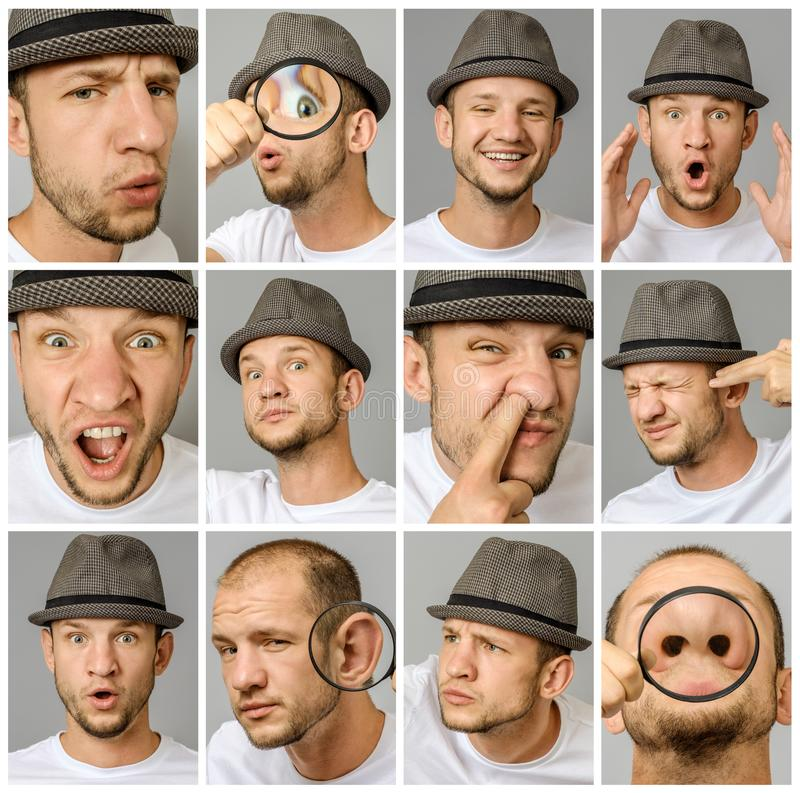Sistema de retratos del ` s del hombre joven con diversos emociones y gestos foto de archivo libre de regalías