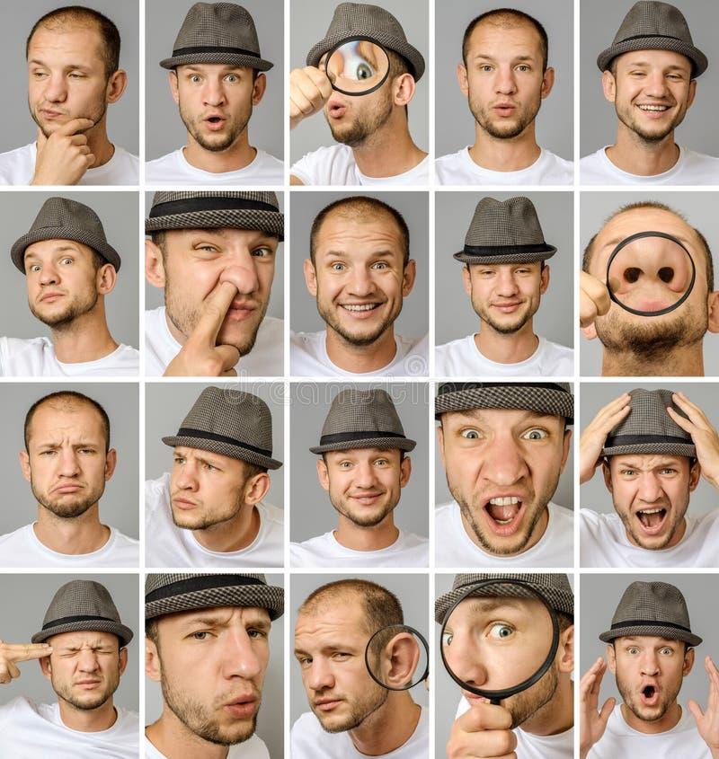 Sistema de retratos del ` s del hombre joven con diversos emociones y gestos imagen de archivo