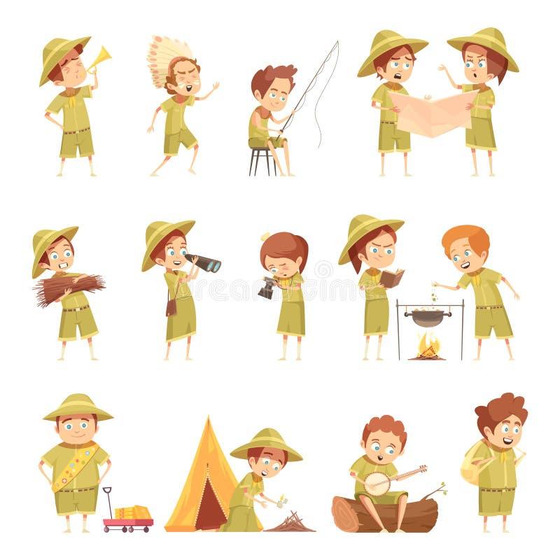 Sistema de Retro Cartoon Icons del boy scout stock de ilustración