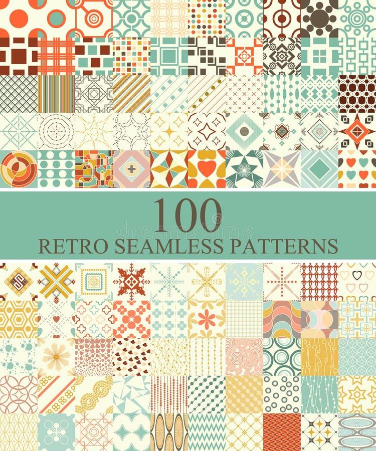 Sistema de 100 retros inconsútiles stock de ilustración
