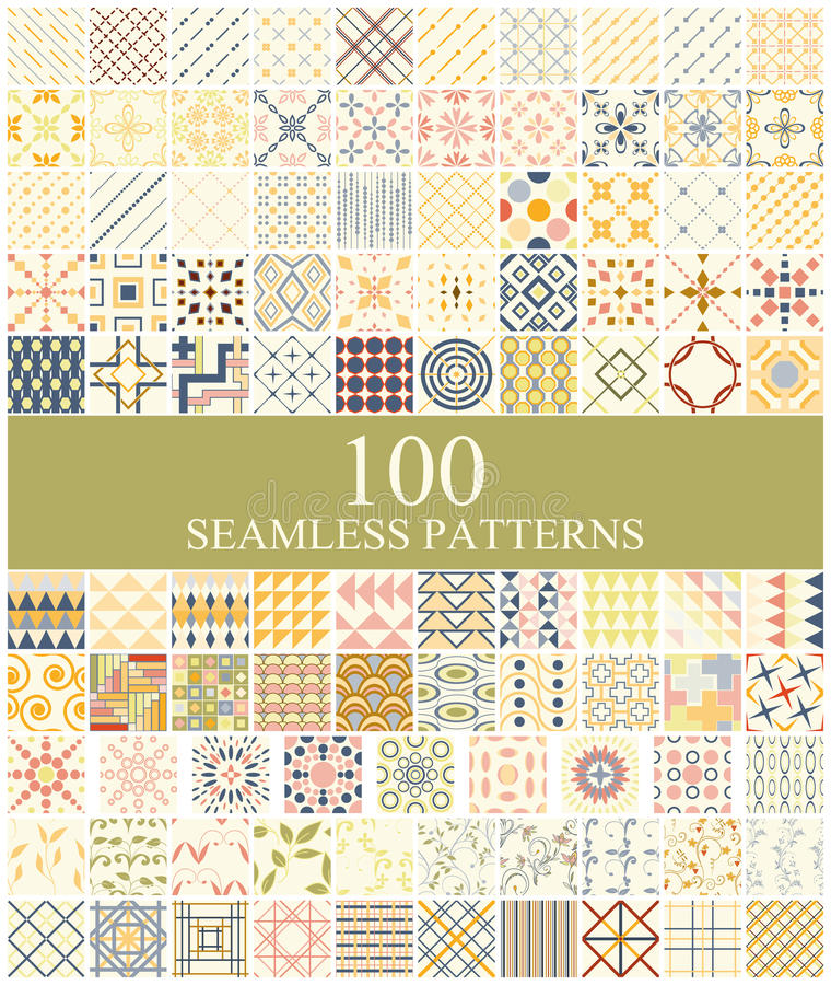 Sistema de 100 retros inconsútiles libre illustration
