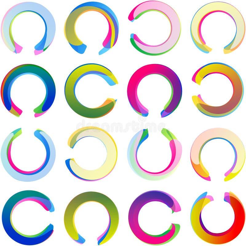 Sistema de Ring Circle Arc Swirl Multicolor de la etiqueta de la etiqueta engomada de la medalla ilustración del vector