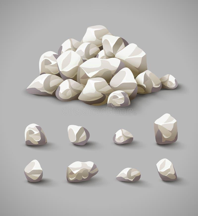Sistema de rocas y del vector de piedra de la pila stock de ilustración
