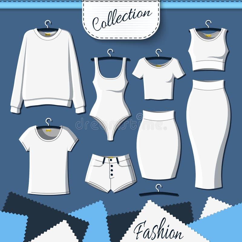 Sistema de ropa blanca para crear diseño en fondo oscuro ilustración del vector