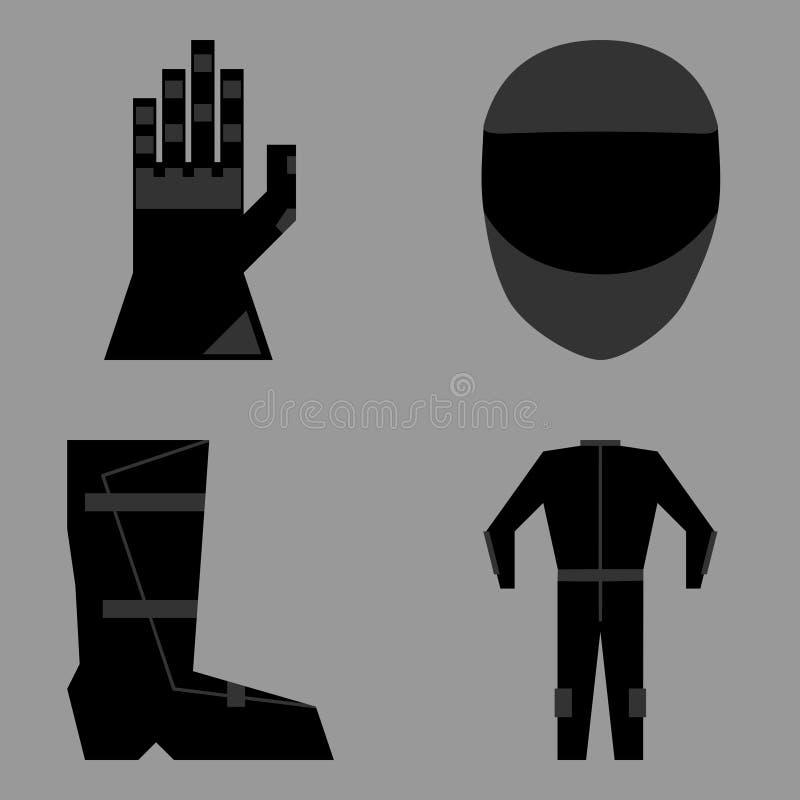 Sistema de ropa de la protección del jinete de la motocicleta del deporte ilustración del vector