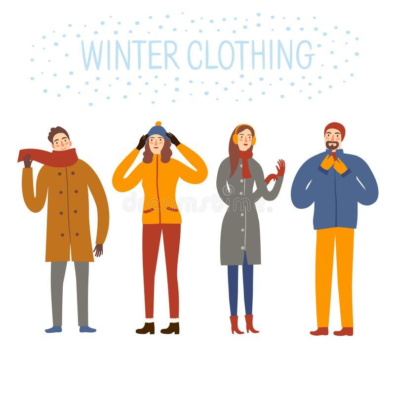 Sistema de ropa del invierno de la gente de la historieta que lleva stock de ilustración