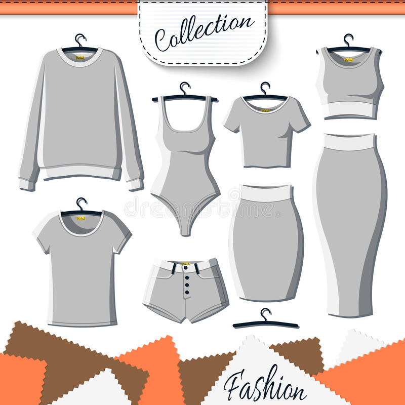 Sistema de ropa gris para crear diseño en el fondo blanco libre illustration