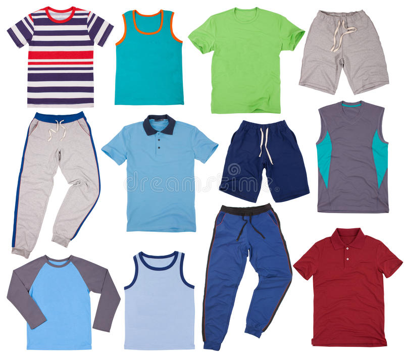 Sistema de ropa masculina Aislado en el fondo blanco imagenes de archivo
