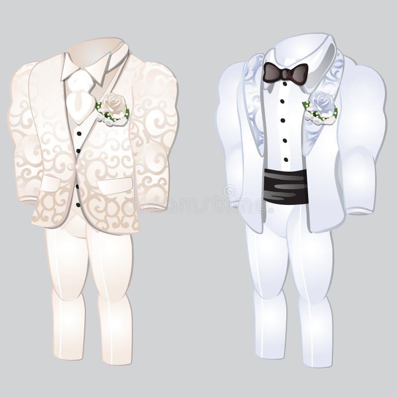Sistema de ropa para hombre animada Prepare el traje para casarse la celebración aislado en un fondo gris Historieta del primer d libre illustration