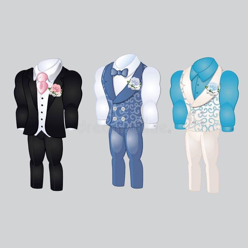 Sistema de ropa para hombre animada Prepare el traje para casarse la celebración aislado en un fondo gris Ilustración del vector stock de ilustración