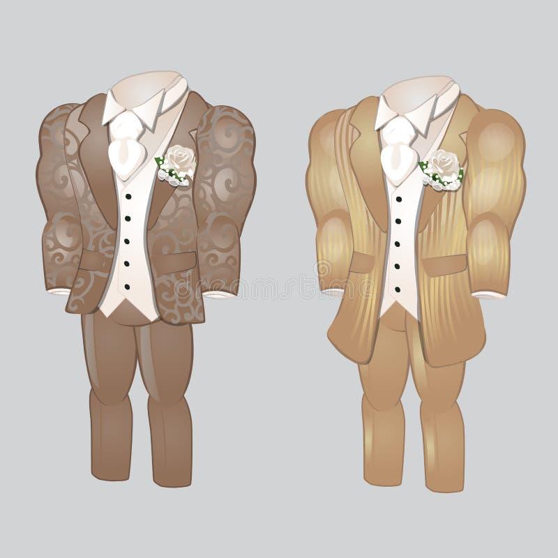 Sistema de ropa para hombre animada Prepare el traje para casarse la celebración aislado en un fondo gris Ilustración del vector libre illustration
