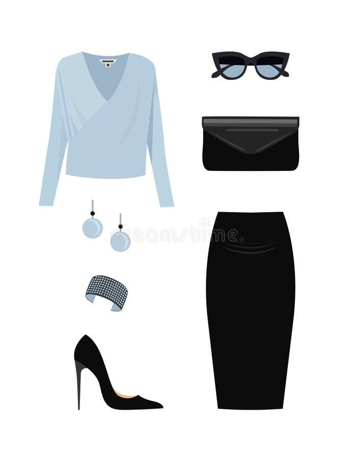 Sistema de ropa y de accesorios de la mujer de la moda libre illustration