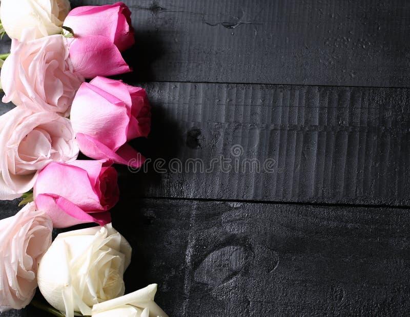 Sistema de rosas púrpuras, blancas y amarillas en fondo de madera negro imagen de archivo libre de regalías