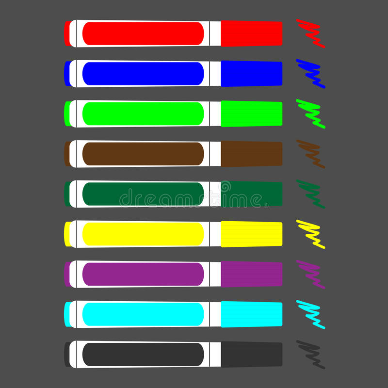 Sistema de rotuladores coloreados ilustración del vector