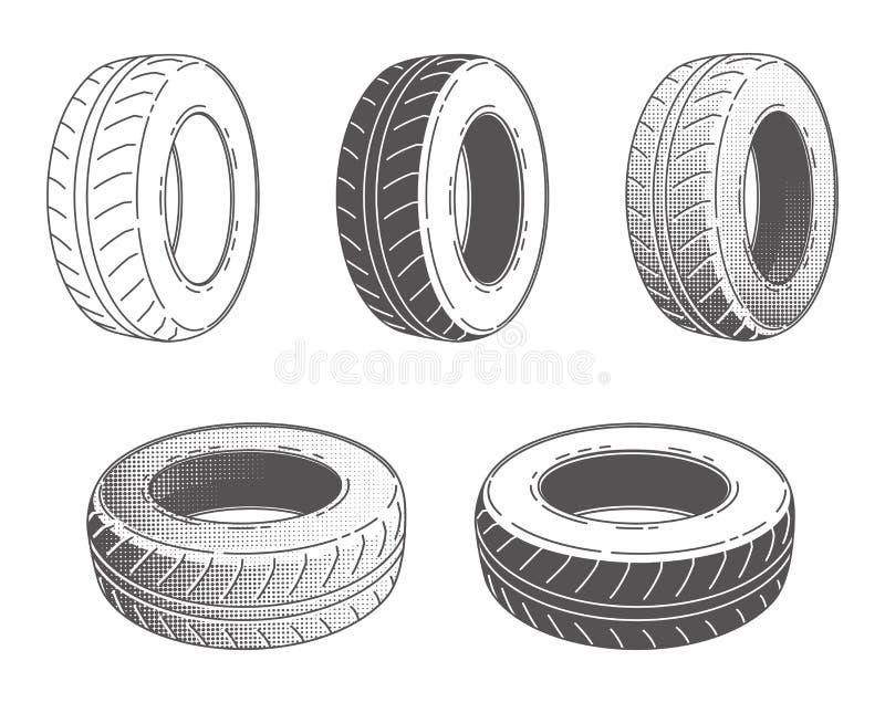 Sistema de rueda de goma del neumático de coche ilustración del vector