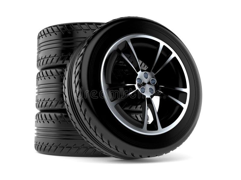 Sistema de ruedas de coche stock de ilustración